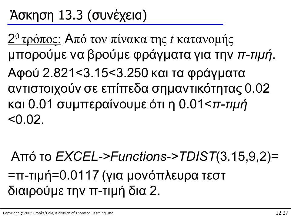 Άσκηση 13.3 (συνέχεια) 20 τρόπος: Από τον πίνακα της t κατανομής μπορούμε να βρούμε φράγματα για την π-τιμή.