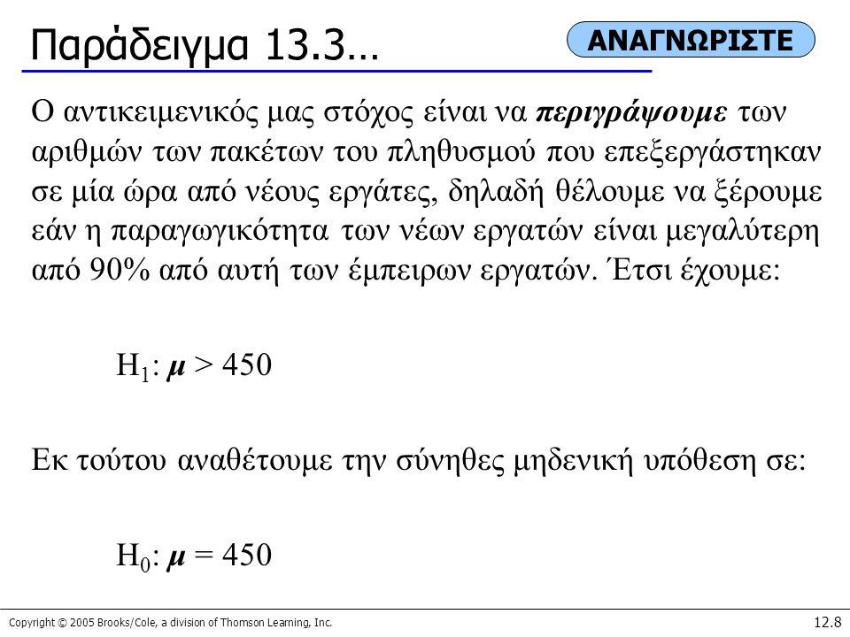 Παράδειγμα 13.3… ΑΝΑΓΝΩΡΙΣΤΕ.