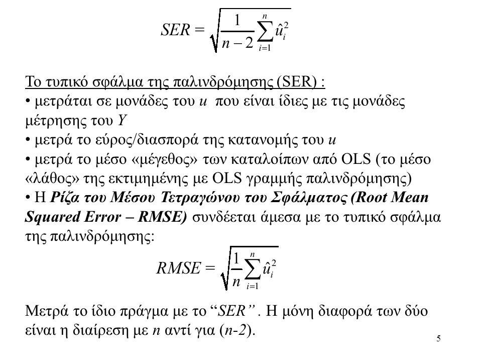To τυπικό σφάλμα της παλινδρόμησης (SER) :