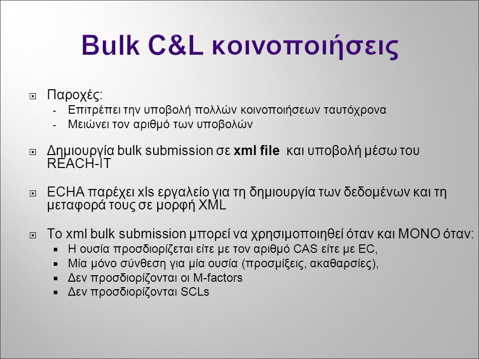 Bulk C&L κοινοποιήσεις