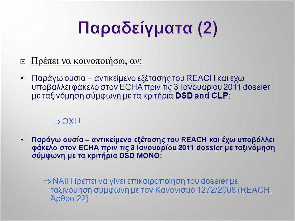 Παραδείγματα (2) Πρέπει να κοινοποιήσω, αν: