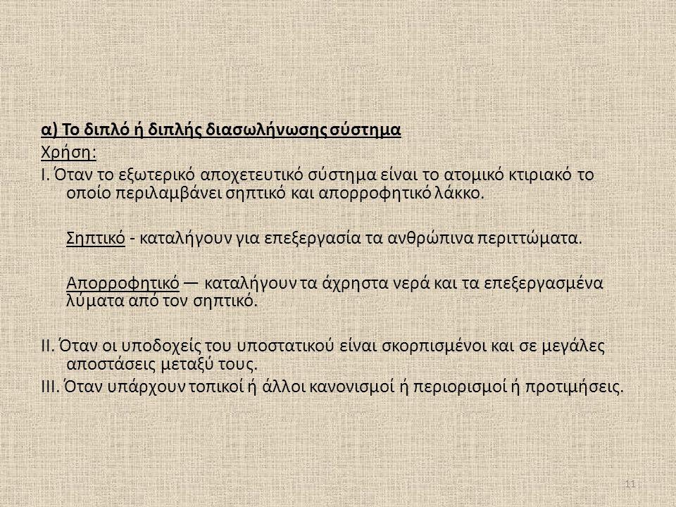 α) Το διπλό ή διπλής διασωλήνωσης σύστημα Χρήση: Ι