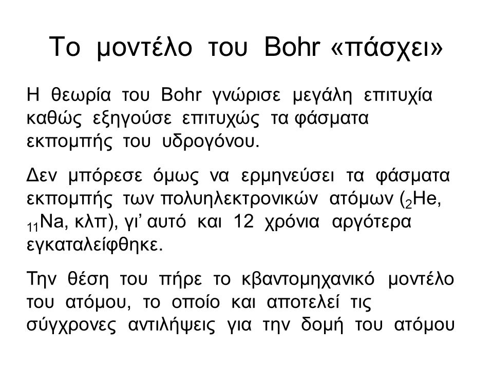 Το μοντέλο του Bohr «πάσχει»