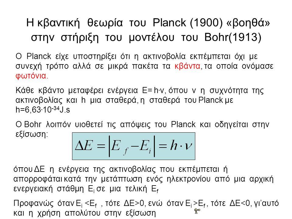 Η κβαντική θεωρία του Planck (1900) «βοηθά» στην στήριξη του μοντέλου του Bohr(1913)