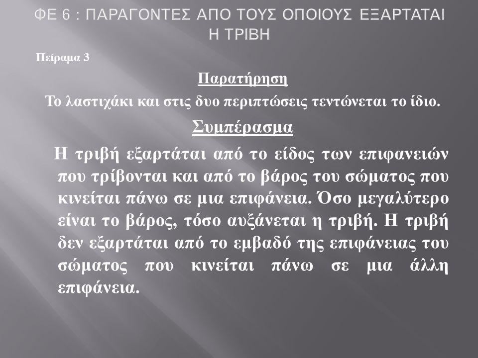 ΦΕ 6 : ΠΑΡΑΓΟΝΤΕΣ ΑΠΟ ΤΟΥΣ ΟΠΟΙΟΥΣ ΕΞΑΡΤΑΤΑΙ Η ΤΡΙΒΗ