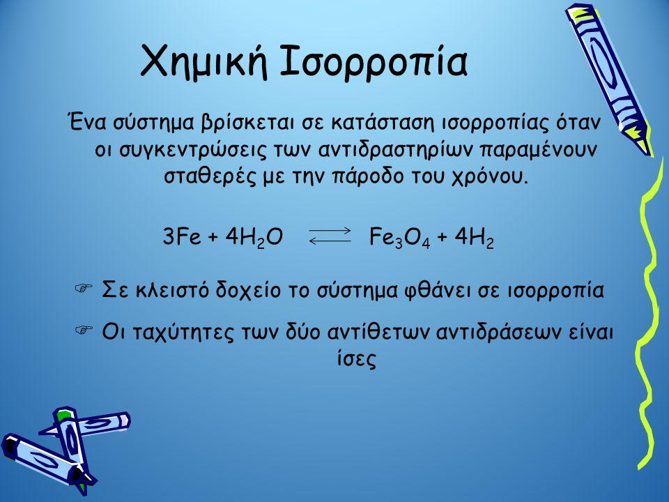 Χημική Ισορροπία Ένα σύστημα βρίσκεται σε κατάσταση ισορροπίας όταν οι συγκεντρώσεις των αντιδραστηρίων παραμένουν σταθερές με την πάροδο του χρόνου.