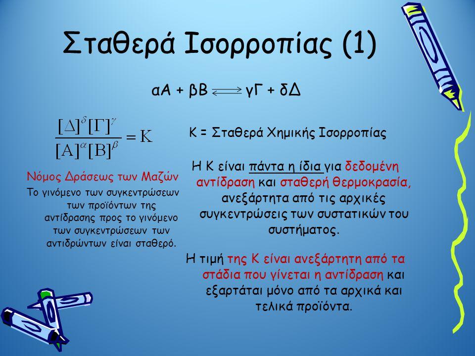 Σταθερά Ισορροπίας (1) αΑ + βΒ γΓ + δΔ Κ = Σταθερά Χημικής Ισορροπίας