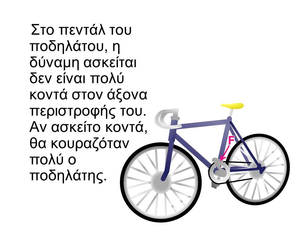 Στο πεντάλ του ποδηλάτου, η δύναμη ασκείται δεν είναι πολύ κοντά στον άξονα περιστροφής του.