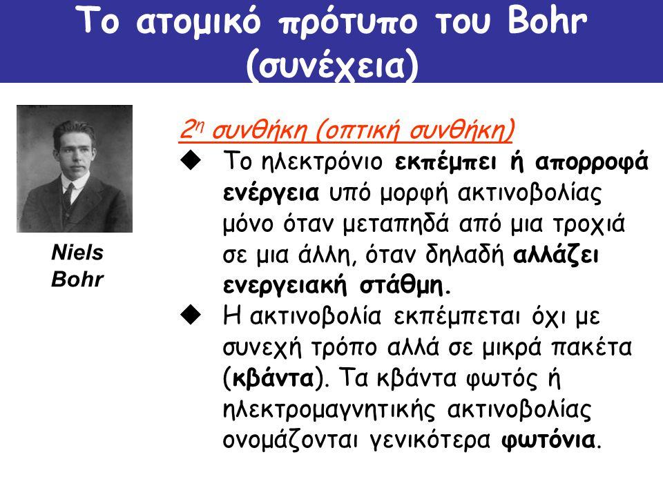 Το ατομικό πρότυπο του Bohr (συνέχεια)