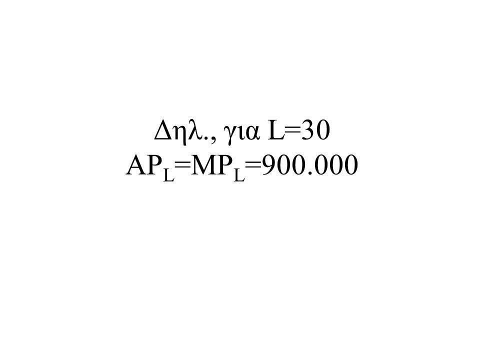 Δηλ., για L=30 APL=MPL=900.000