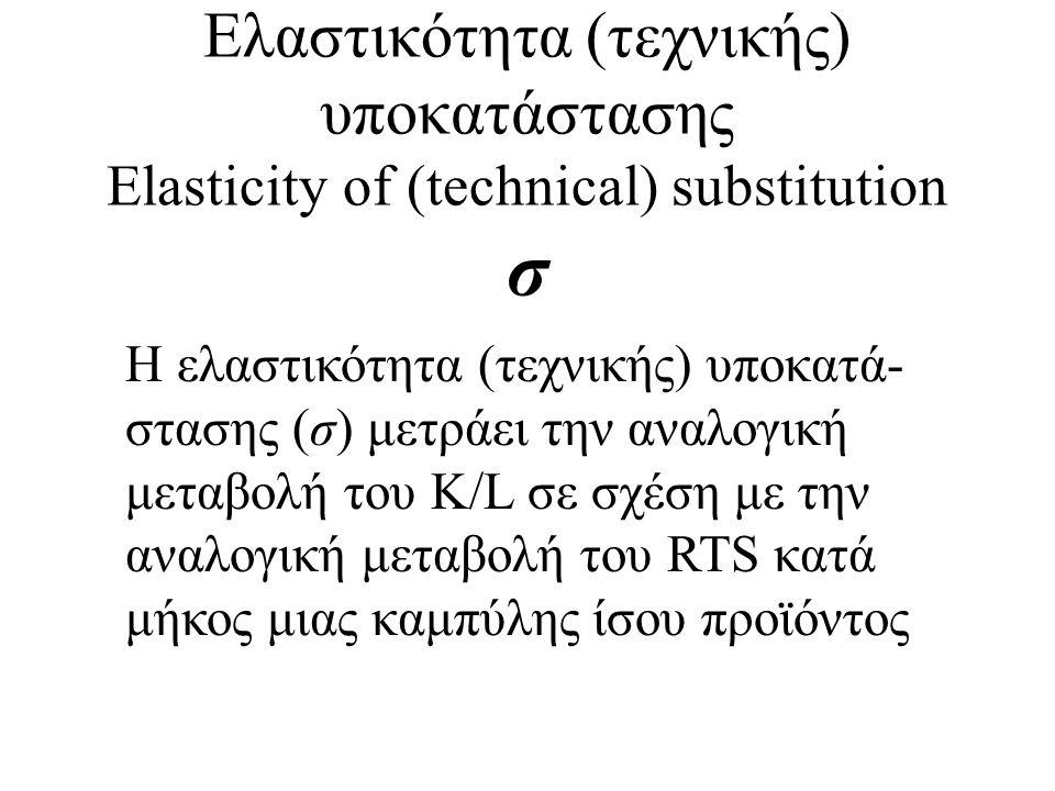Ελαστικότητα (τεχνικής) υποκατάστασης Elasticity of (technical) substitution σ