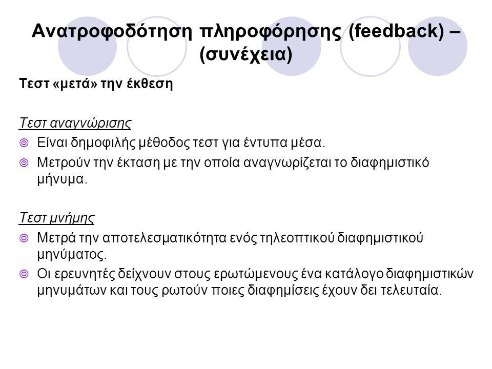 Ανατροφοδότηση πληροφόρησης (feedback) – (συνέχεια)