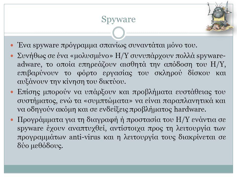 Spyware Ένα spyware πρόγραμμα σπανίως συναντάται μόνο του.