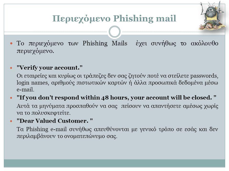 Περιεχόμενο Phishing mail