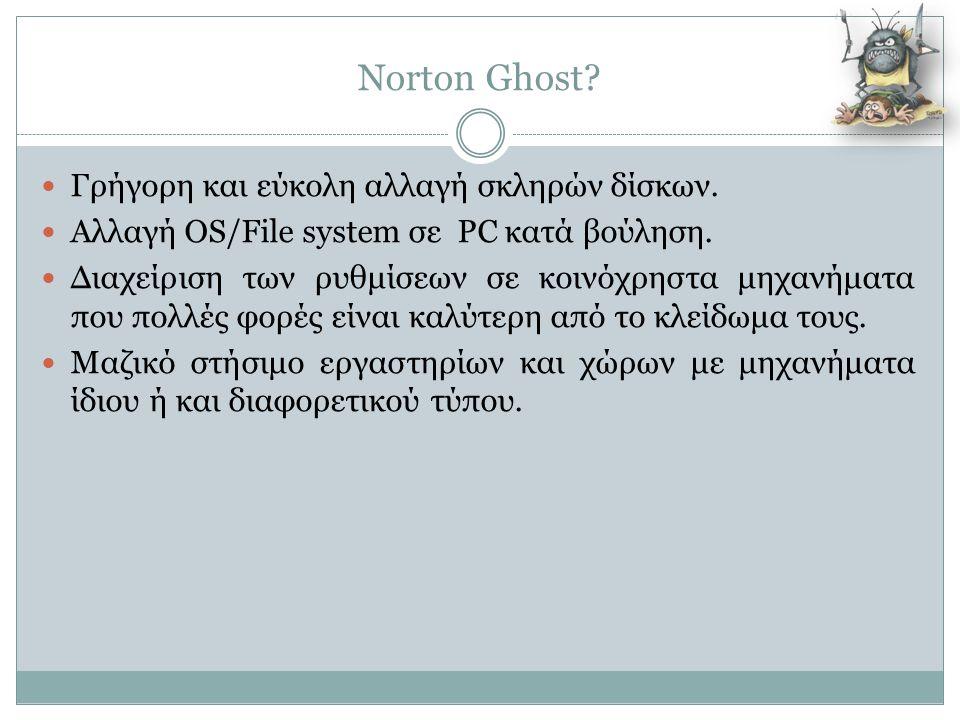 Norton Ghost Γρήγορη και εύκολη αλλαγή σκληρών δίσκων.