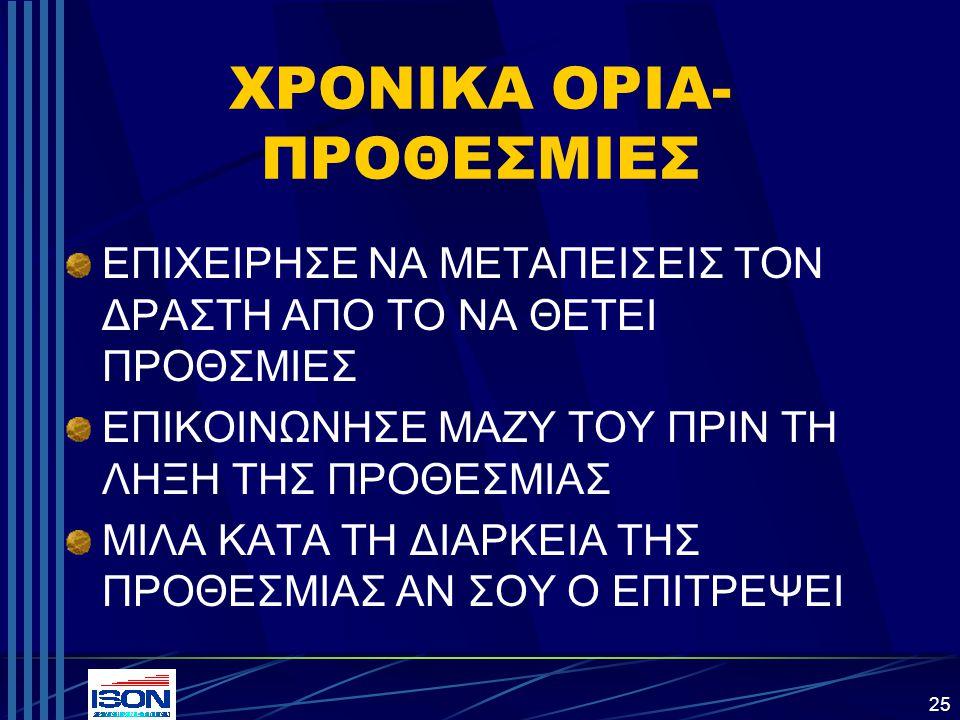 ΧΡΟΝΙΚΑ ΟΡΙΑ-ΠΡΟΘΕΣΜΙΕΣ
