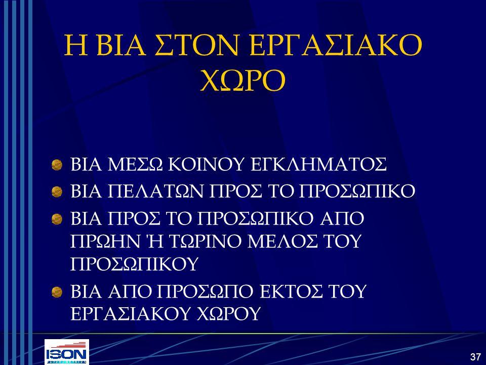 Η ΒΙΑ ΣΤΟΝ ΕΡΓΑΣΙΑΚΟ ΧΩΡΟ