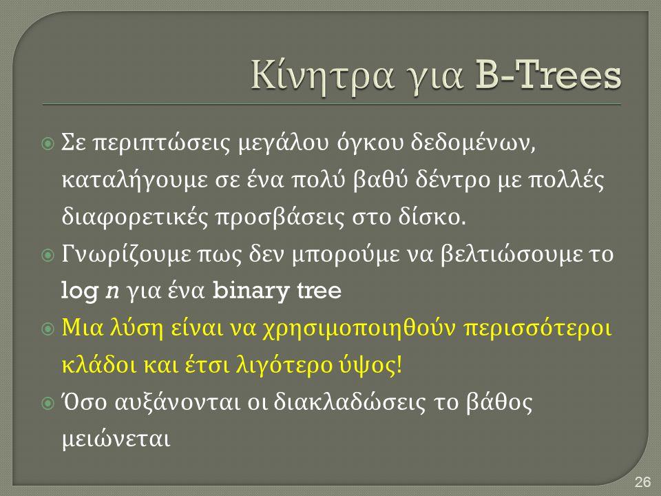 Κίνητρα για B-Trees Σε περιπτώσεις μεγάλου όγκου δεδομένων, καταλήγουμε σε ένα πολύ βαθύ δέντρο με πολλές διαφορετικές προσβάσεις στο δίσκο.