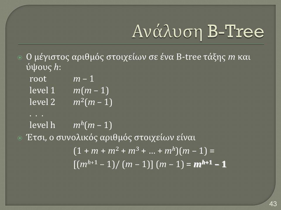 Ανάλυση B-Tree Ο μέγιστος αριθμός στοιχείων σε ένα B-tree τάξης m και ύψους h: root m – 1. level 1 m(m – 1)