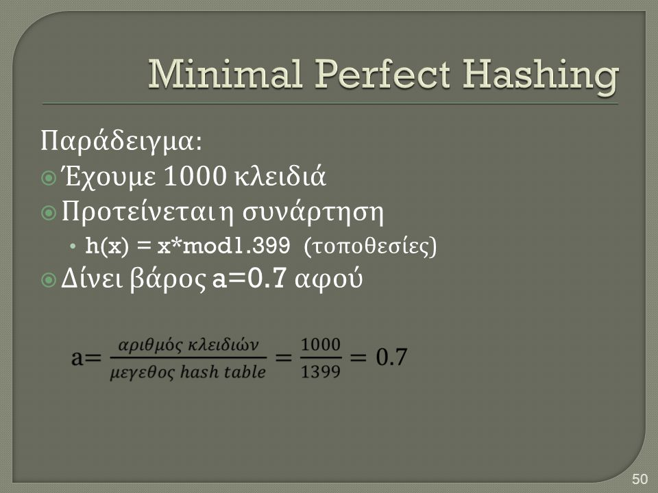 Minimal Perfect Hashing
