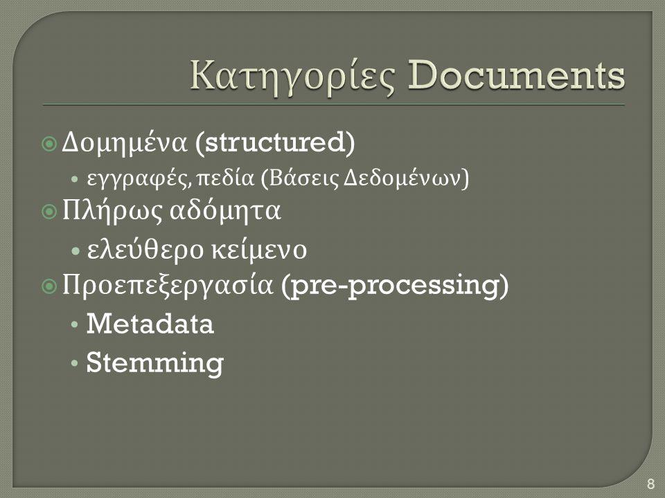 Κατηγορίες Documents Δομημένα (structured) Πλήρως αδόμητα