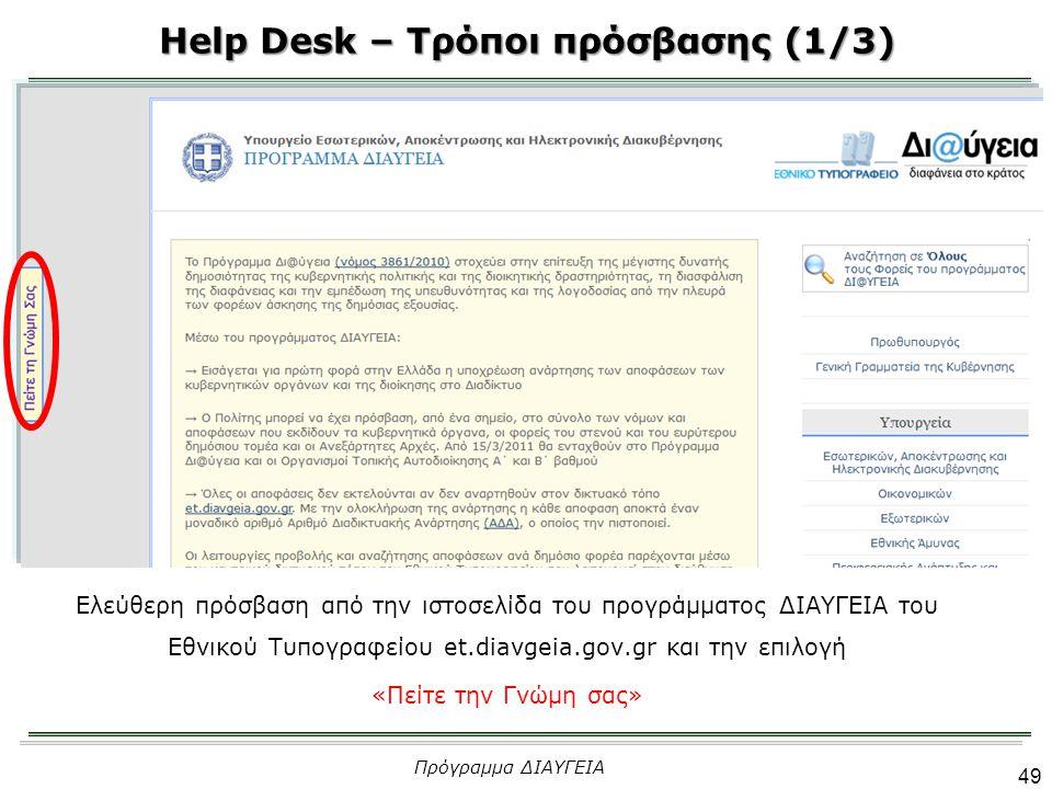 Help Desk – Τρόποι πρόσβασης (1/3)