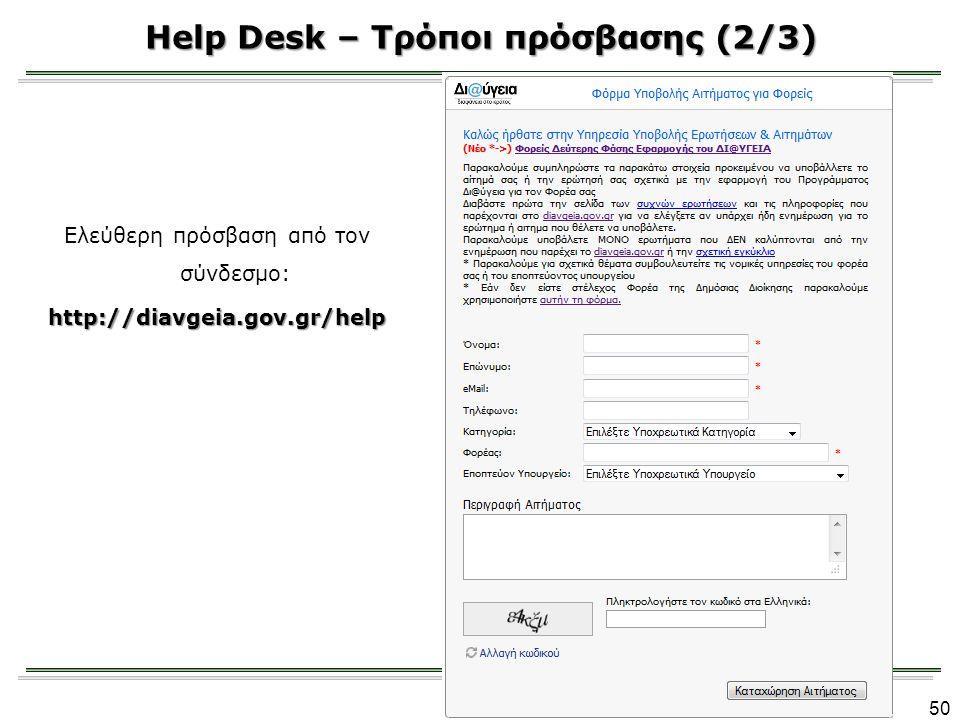 Help Desk – Τρόποι πρόσβασης (2/3)