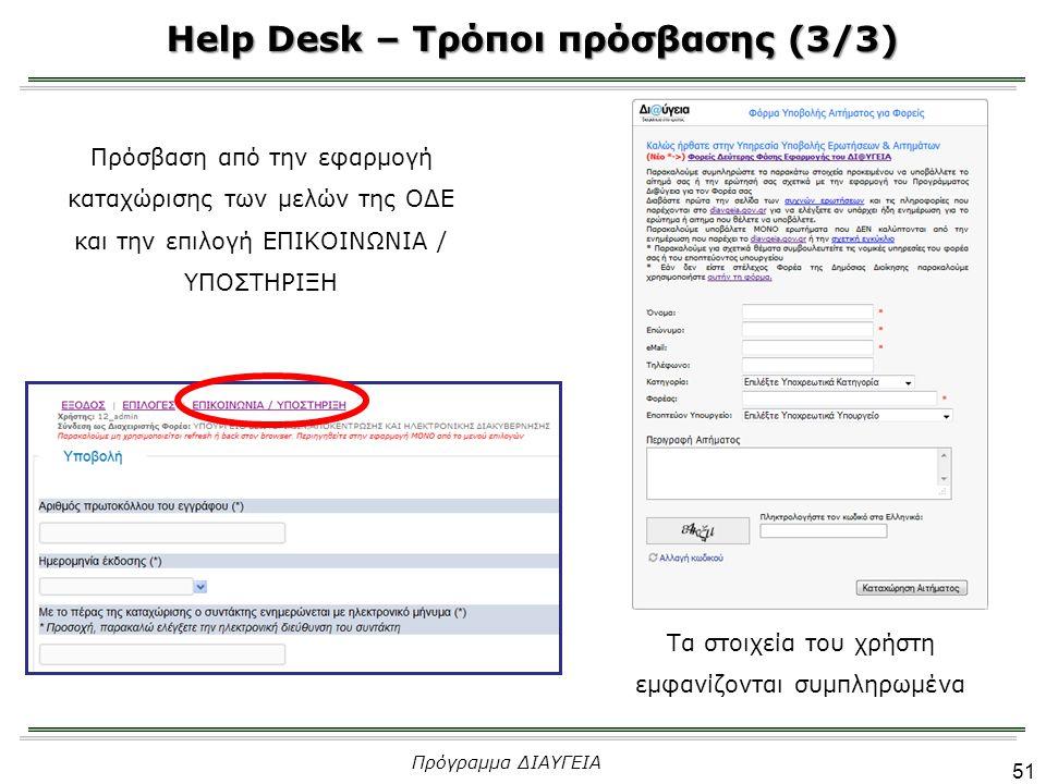Help Desk – Τρόποι πρόσβασης (3/3)