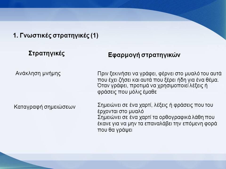 1. Γνωστικές στρατηγικές (1)