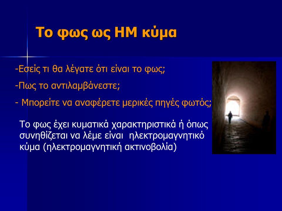 Το φως ως ΗΜ κύμα Εσείς τι θα λέγατε ότι είναι το φως;