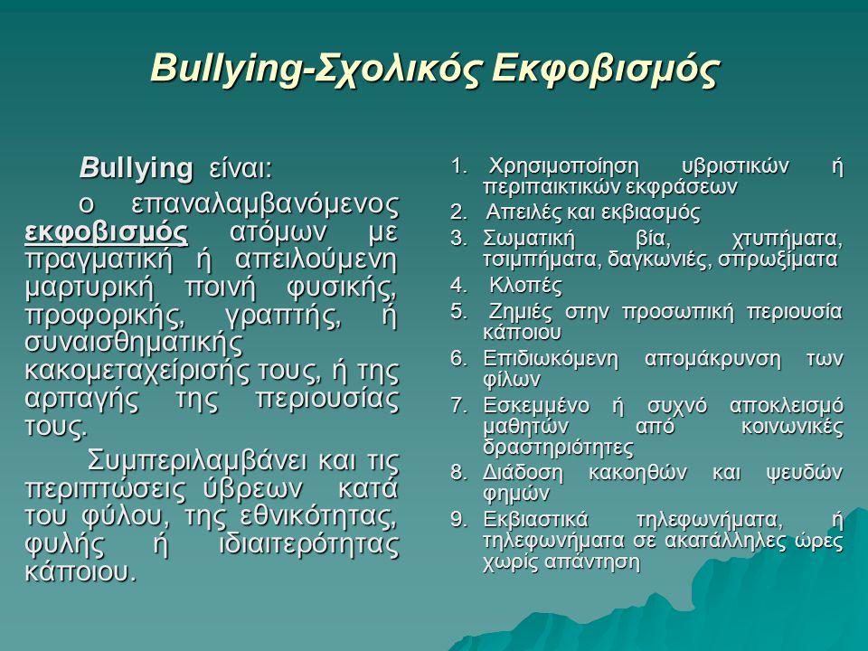 Βullying-Σχολικός Εκφοβισμός
