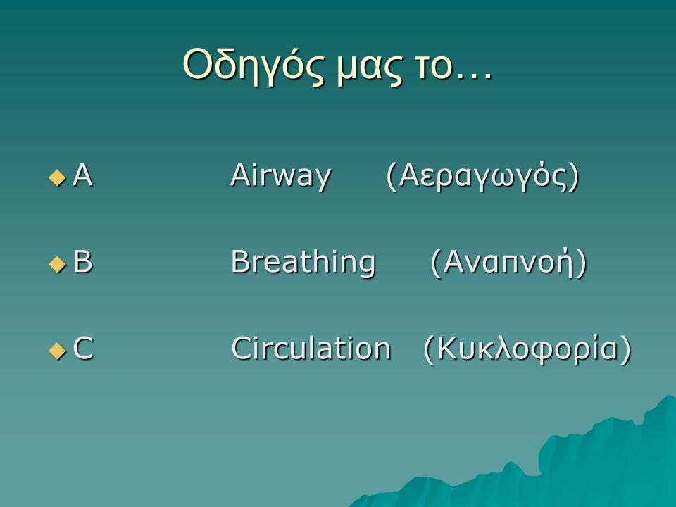 Οδηγός μας το… Α Αirway (Αεραγωγός) B Breathing (Αναπνοή)