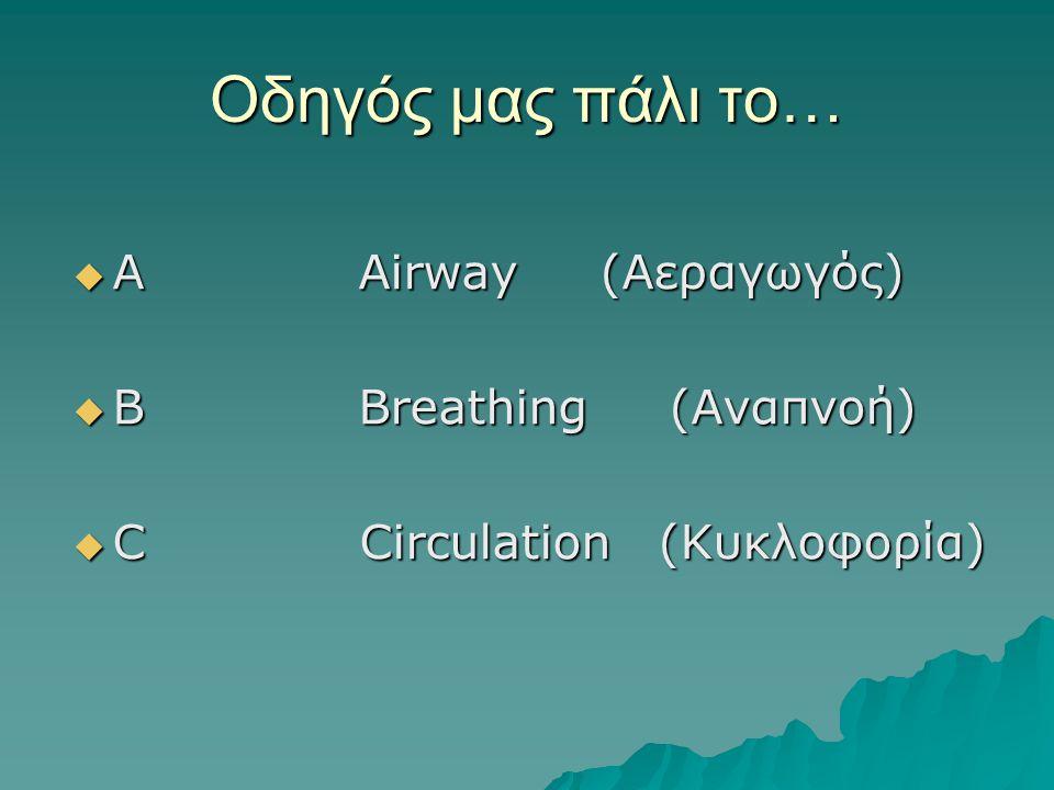 Οδηγός μας πάλι το… Α Αirway (Αεραγωγός) B Breathing (Αναπνοή)