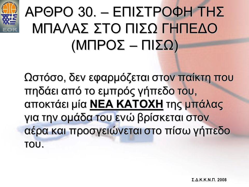 ΑΡΘΡΟ 30. – ΕΠΙΣΤΡΟΦΗ ΤΗΣ ΜΠΑΛΑΣ ΣΤΟ ΠΙΣΩ ΓΗΠΕΔΟ (ΜΠΡΟΣ – ΠΙΣΩ)