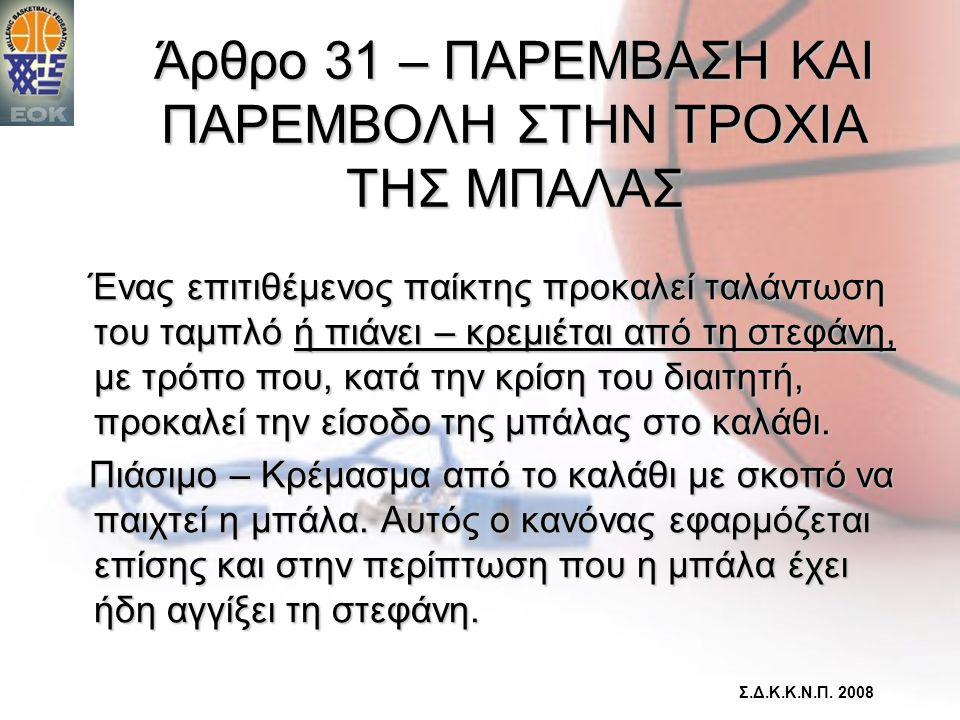 Άρθρο 31 – ΠΑΡΕΜΒΑΣΗ ΚΑΙ ΠΑΡΕΜΒΟΛΗ ΣΤΗΝ ΤΡΟΧΙΑ ΤΗΣ ΜΠΑΛΑΣ
