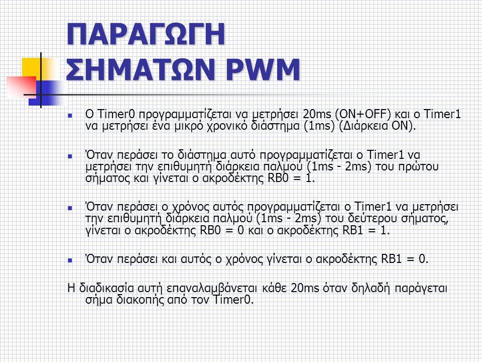 ΠΑΡΑΓΩΓΗ ΣΗΜΑΤΩΝ PWM Ο Timer0 προγραμματίζεται να μετρήσει 20ms (ΟΝ+OFF) και ο Timer1 να μετρήσει ένα μικρό χρονικό διάστημα (1ms) (Διάρκεια ON).