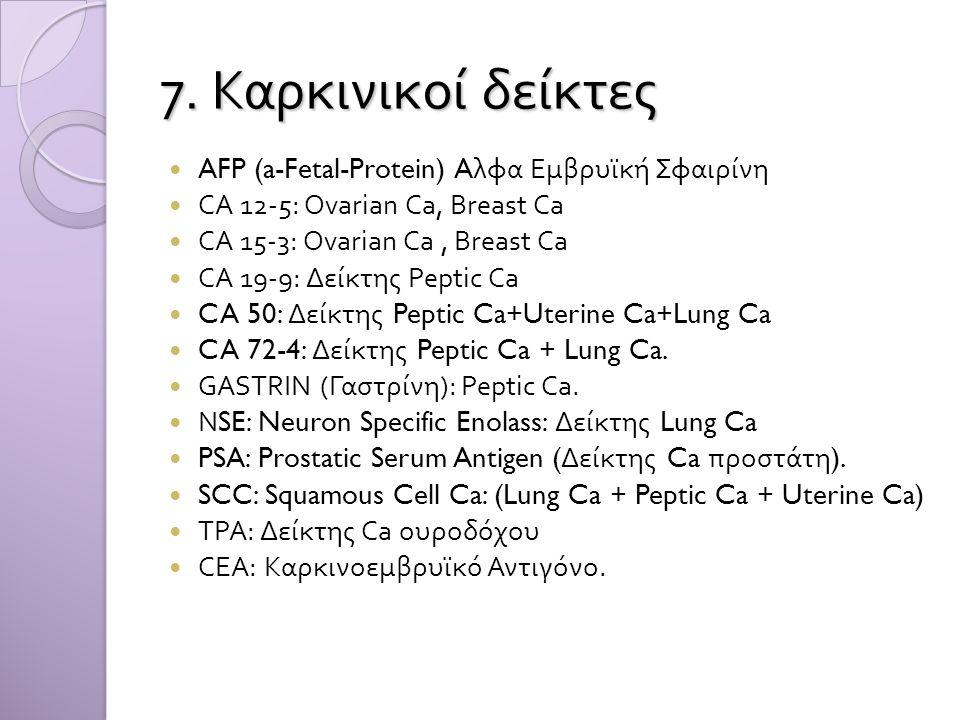 7. Καρκινικοί δείκτες AFP (a-Fetal-Protein) Aλφα Εμβρυϊκή Σφαιρίνη