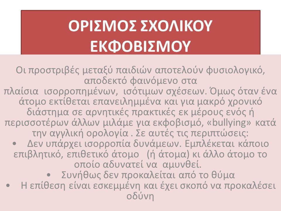 ΟΡΙΣΜΟΣ ΣΧΟΛΙΚΟΥ ΕΚΦΟΒΙΣΜΟΥ