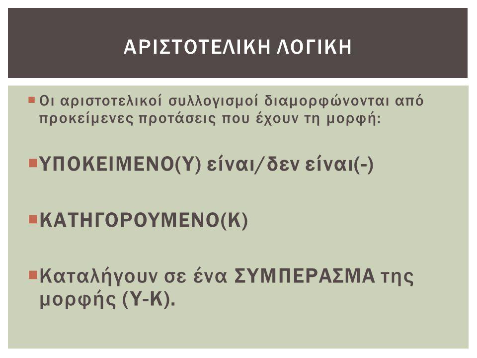 ΥΠΟΚΕΙΜΕΝΟ(Υ) είναι/δεν είναι(-) ΚΑΤΗΓΟΡΟΥΜΕΝΟ(Κ)