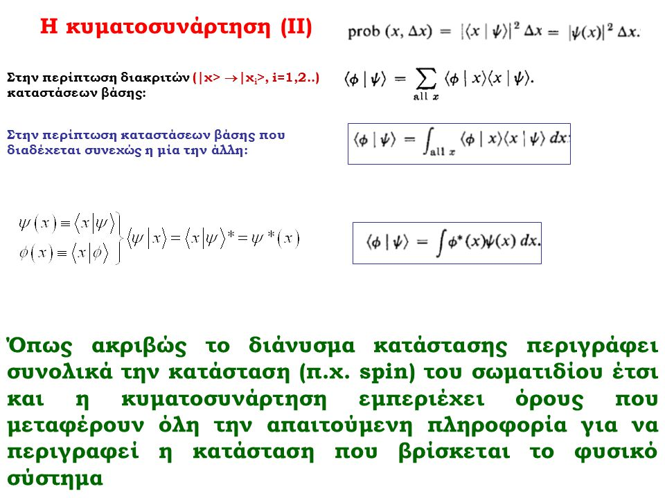 Η κυματοσυνάρτηση (ΙΙ)