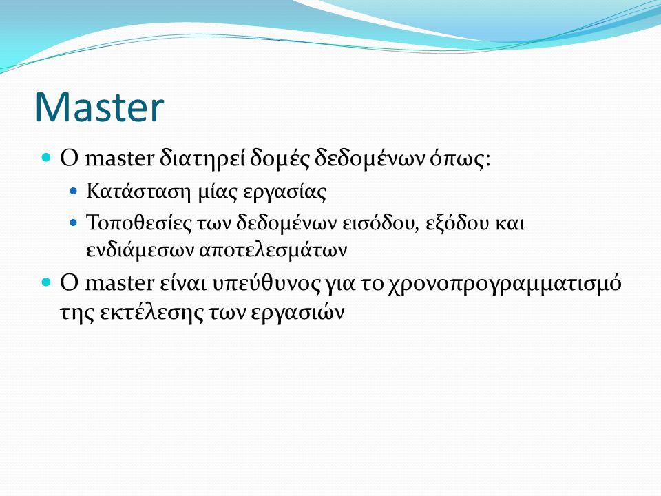 Master Ο master διατηρεί δομές δεδομένων όπως: