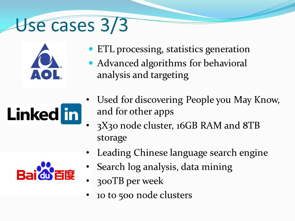 Use cases 3/3 ETL processing, statistics generation