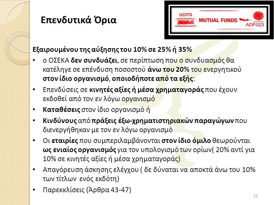 Επενδυτικά Όρια Εξαιρουμένου της αύξησης του 10% σε 25% ή 35%