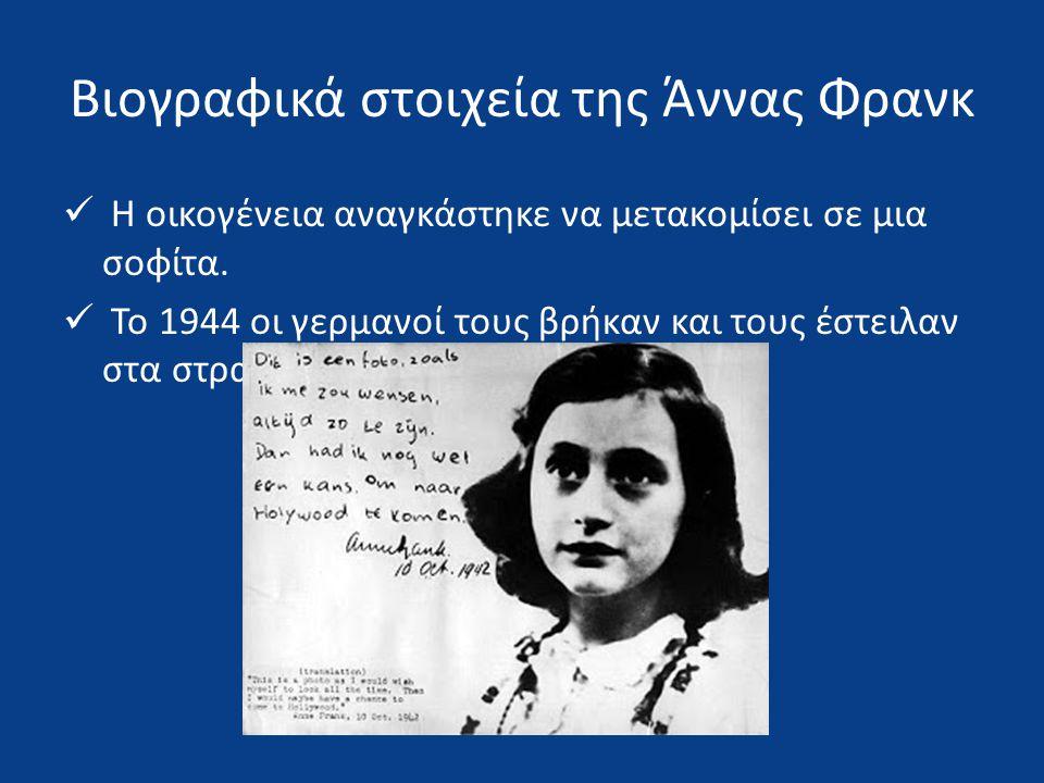 Βιογραφικά στοιχεία της Άννας Φρανκ