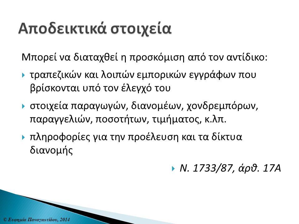 Αποδεικτικά στοιχεία Ν. 1733/87, άρθ. 17Α