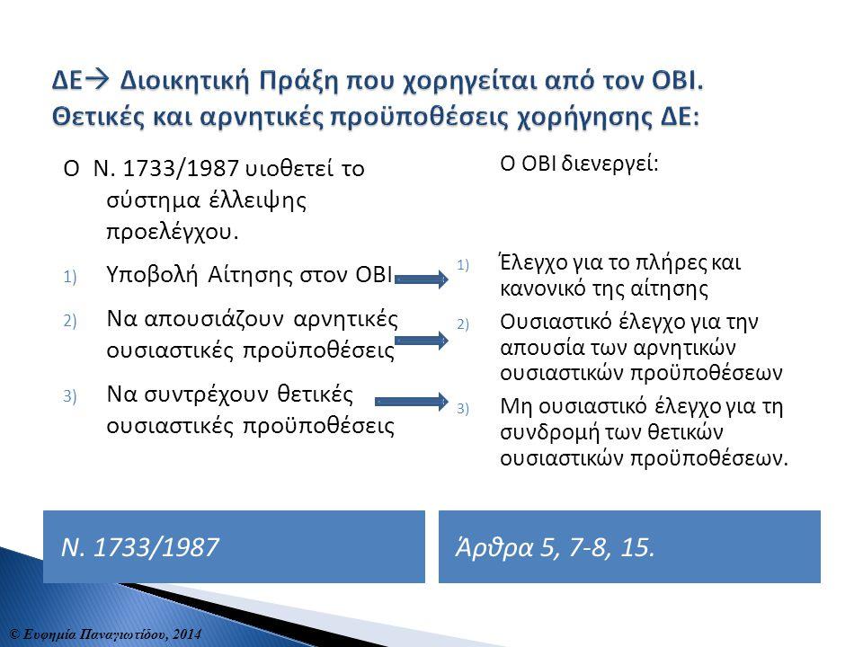 ΔΕ Διοικητική Πράξη που χορηγείται από τον ΟΒΙ