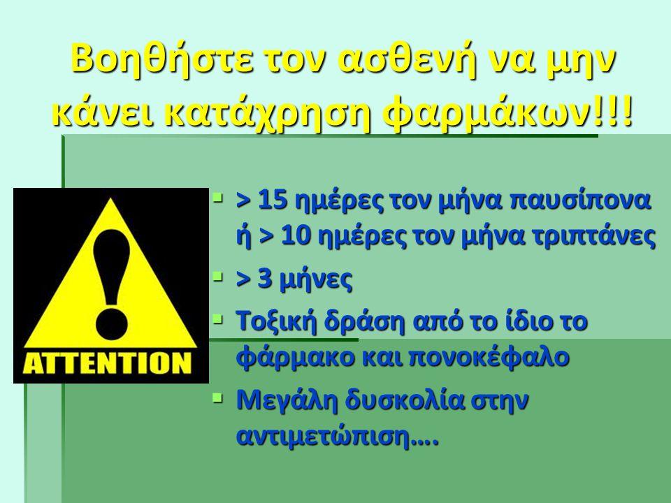 Βοηθήστε τον ασθενή να μην κάνει κατάχρηση φαρμάκων!!!