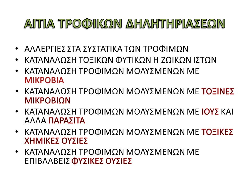 ΑΙΤΙΑ ΤΡΟΦΙΚΩΝ ΔΗΛΗΤΗΡΙΑΣΕΩΝ
