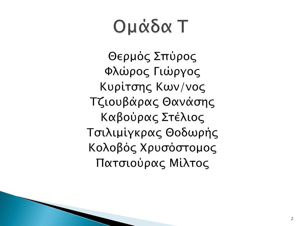 Ομάδα Τ Θερμός Σπύρος Φλώρος Γιώργος Κυρίτσης Κων/νος