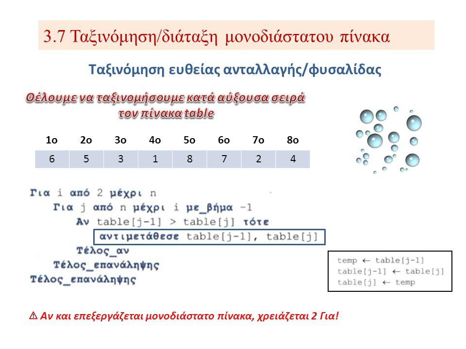 3.7 Ταξινόμηση/διάταξη μονοδιάστατου πίνακα